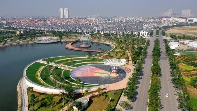 Một góc dự án An Vượng Villa tiếp giáp với Công viên Thiên văn học và đường Ngô Thì Nhậm