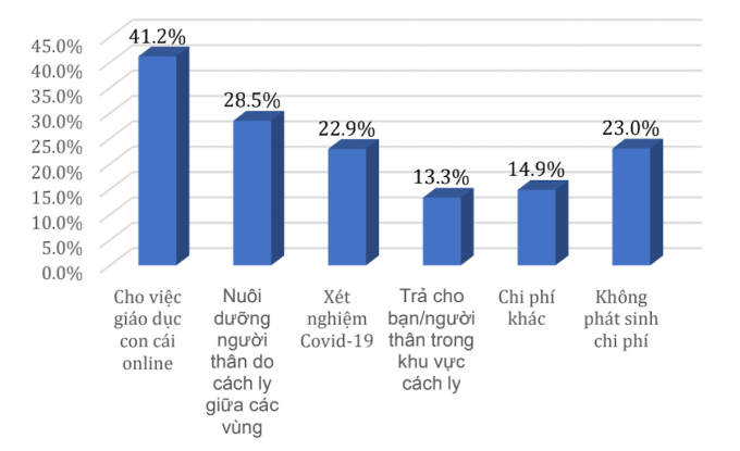 Các chi phí phát sinh trong mùa dịch, từ tháng 5/2021 đến nay. Nguồn: Kết quả khảo sát