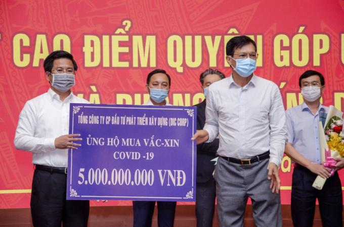 Tập đoàn DIC cũng ủng hộ UBMTTQ Việt Nam tỉnh Bà Rịa – Vũng Tàu 5 tỷ đồng kinh phí mua vaccine và phòng, chống dịch bệnh Covid-19 vào tháng 5/2021.
