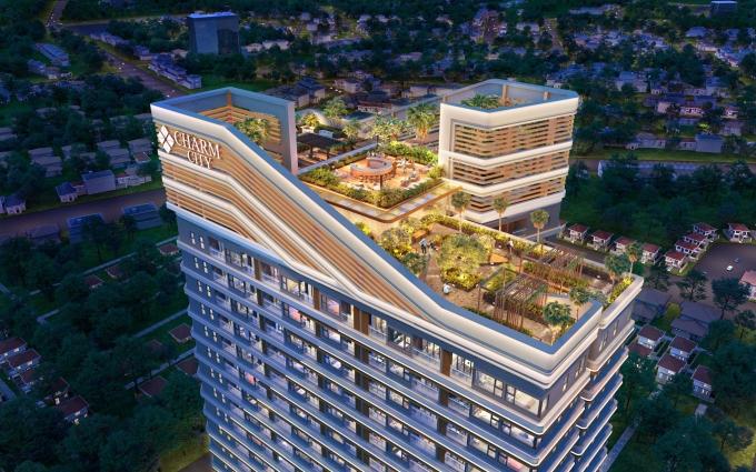 Vườn dạo bộ trên không nằm trên tầng 35 của dự án.