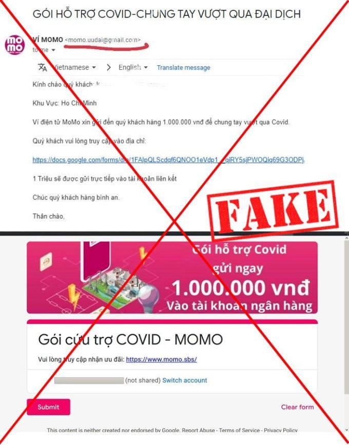 Một email lừa đảo về gói cứu trợ Covid - MoMo. Ảnh: Công ty cung cấp