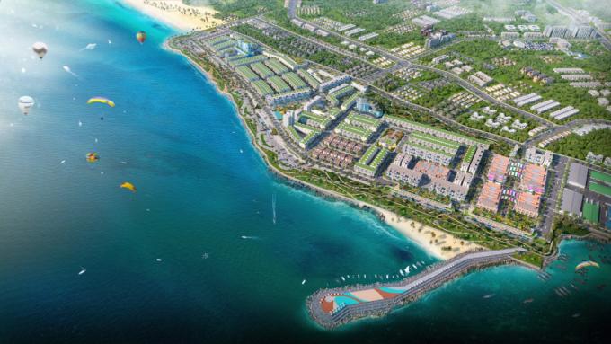 Phối cảnh một dự án phức hợp đô thị thương mại - dịch vụ và du lịch biển tại La Gi, Bình Thuận.