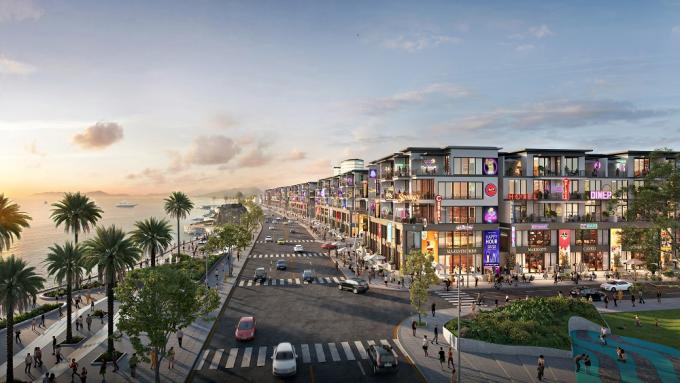 Phối cảnh các dãy shophouse ven biển Lagi New City sẽ hình thành trong tương lai.