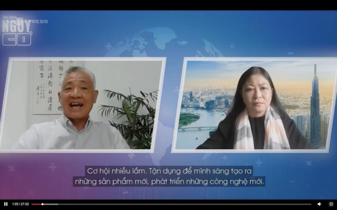 Tiến sĩ Nguyễn Thanh Mỹ và host Nguyễn Phi Vân. Ảnh: Nguy Cơ
