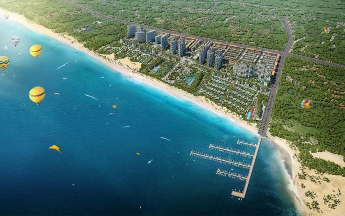 Thanh Long Bay với 1,7km đường bờ biển, ôm trọn vùng biển của Vịnh Hòn Lan. Ảnh: Nam Group