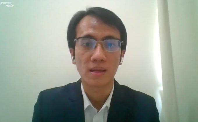 Ông Nguyễn Sang Lộc, Trưởng phòng quản lý danh mục đầu tư, Dragon Capital Việt Nam chia sẻ tại chương trình. Ảnh: Chụp màn hình