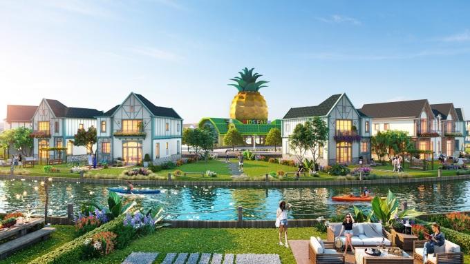 Villa village next to Lagoon canal - highlight at NovaWorld Ho Tram