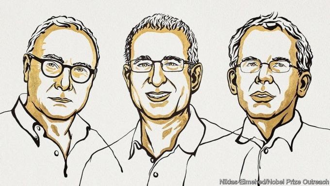 Phác hoạ chân dung 3 nhà khoa học đạt Nobel Kinh tế 2021. Nguồn: Nobel Prize Outreach