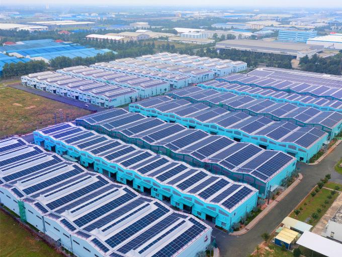 Một dự án điện mặt trởi áp mái của SkyX Solar tại Đồng Nai. Ảnh công ty cung cấp