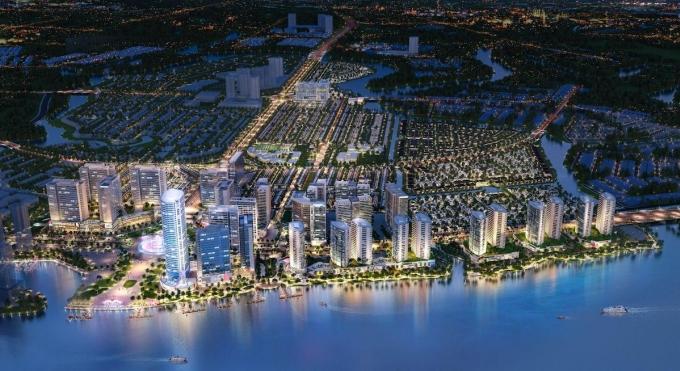 Phối cảnh về đêm dự án khu đô thị tích hợp Izumi City. Ảnh: Nam Long Group
