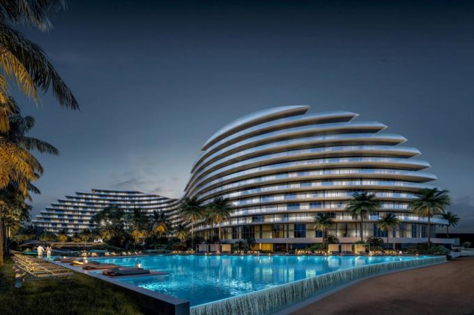 Phối cảnh Kiến trúc khách sạn mô phỏng hình cánh sóng dự kiến sẽ được Tân Hoàng Minh xây dựng tại Phú Quốc.