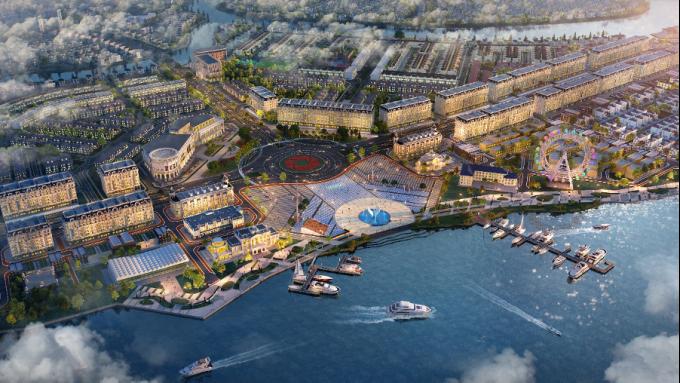 Phối cảnh tổ hợp quảng trường - bến du thuyền Aqua Marina tại Aqua City. Ảnh: Novaland